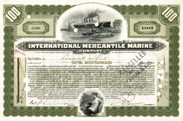 Lammot du Pont issued to and signed International Mercantile Marine - Company that Made the Titanic - Stock Certificate