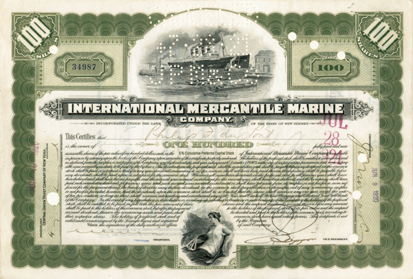 Philip Du Pont issued to and signed International Mercantile Marine - Company that Made the Titanic - Stock Certificate