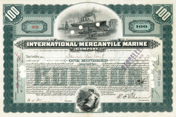 Irenee Du Pont issued and signed International Mercantile Marine - Company that Made the Titanic - Stock Certificate