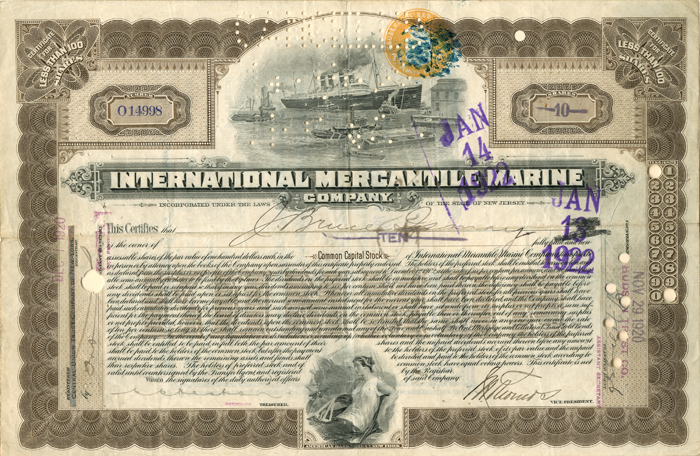 International Mercantile Marine signed by J. Bruce Ismay - Company that Made the Titanic - Stock Certificate - SOLD