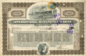 International Mercantile Marine signed by J. Bruce Ismay - SOLD