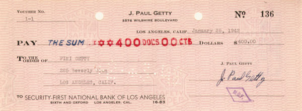 "J. Paul Getty signed check - The Man behind the Movie ""All the Money in the World"""