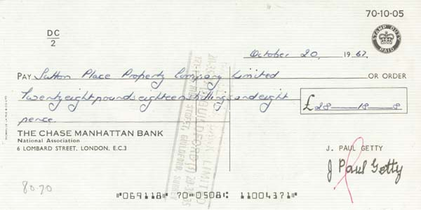 """J. Paul Getty - Check on Chase Manhattan Bank London - The Man behind the Movie """"All the Money in the World"""""""
