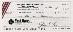 James B. Irwin - Astronaut signed check