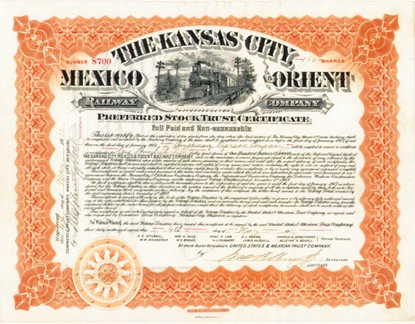 James F. Fargo signs for American Express - Stock Certificate (Uncanceled)