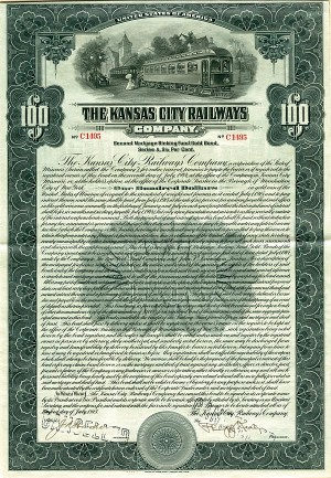 Kansas City Railways Company $100 Bond - SOLD