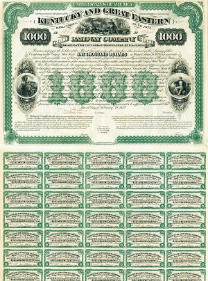 Kentucky and Great Eastern Railway Company - $1,000 Bond