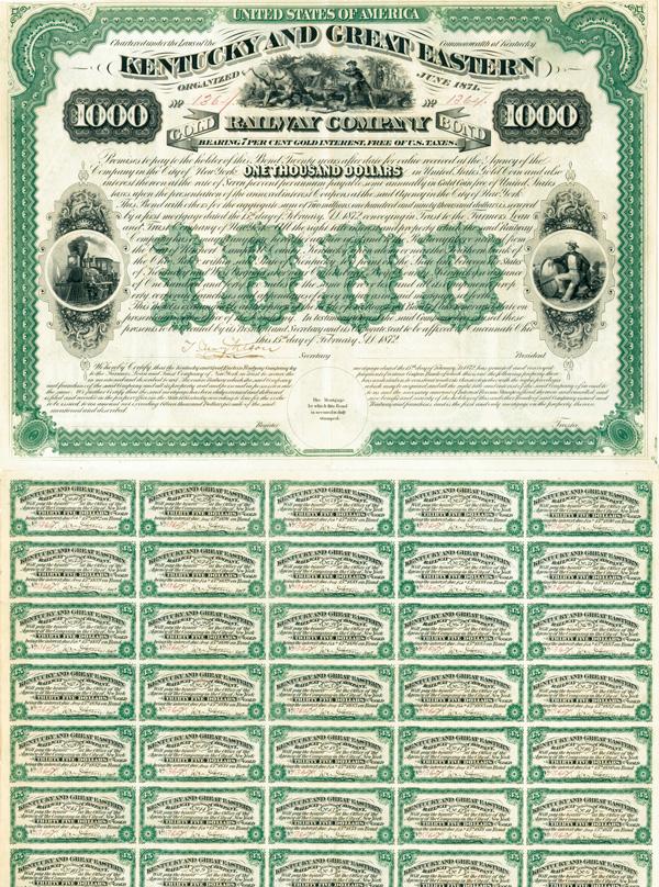Kentucky and Great Eastern Railway Company - $1,000 Bond