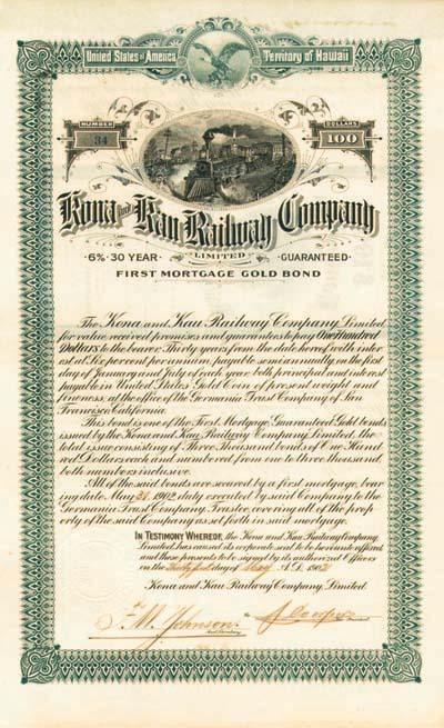 Kona and Kau Railway - Bond - SOLD