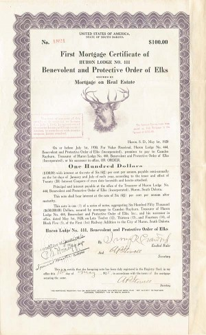 First Mortgage Certificate of Huron Lodge No. 444 Benevolent and Protective Order of Elks - SOLD