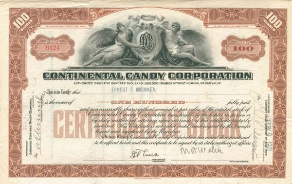 Continental Candy Corp - Stock Certificate