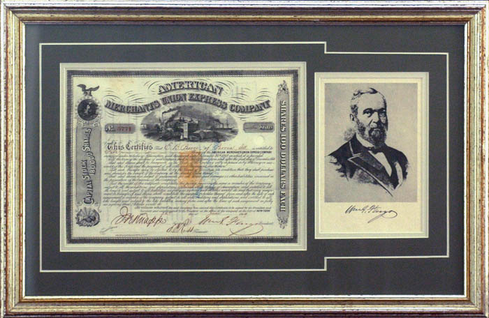 American Merchants Union Express Company Signed by William G. Fargo