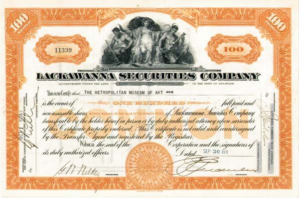 Metropolitan Museum of Fine Arts - Lackawanna Securities Company - Stock Certificate