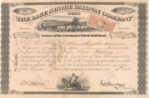 John Henry Devereux - Lake Shore Railway Co - Stock Certificate