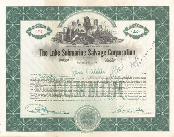 Simon Lake - Lake Submarine Salvage - Stock Certificate (Uncanceled)
