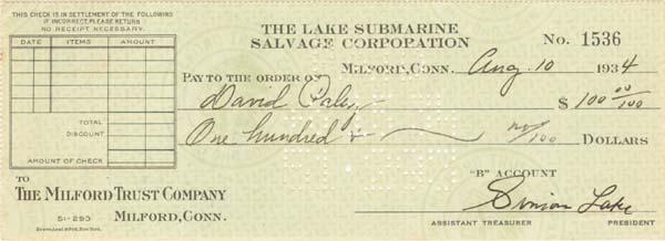 Simon Lake - Lake Submarine Salvage Check