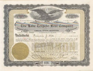 Lake Torpedo Boat Company Signed by Simon Lake - Stock Certificate