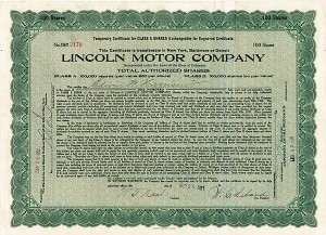 Lincoln Motor Company signed by W. T. Nash and W. C. Leland - Stock Certificate