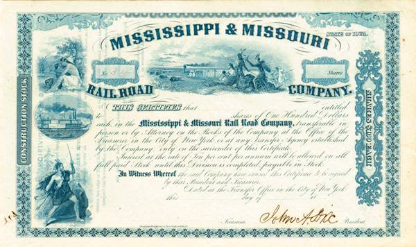General John A. Dix - Mississippi & Missouri Railroad - Stock Certificate