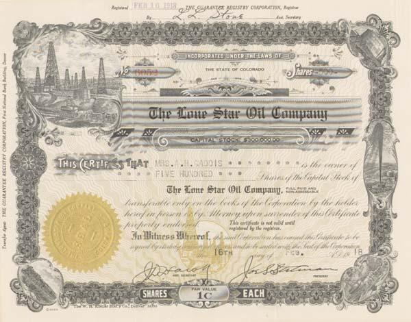 Lone Star Oil Company - Stock Certificate