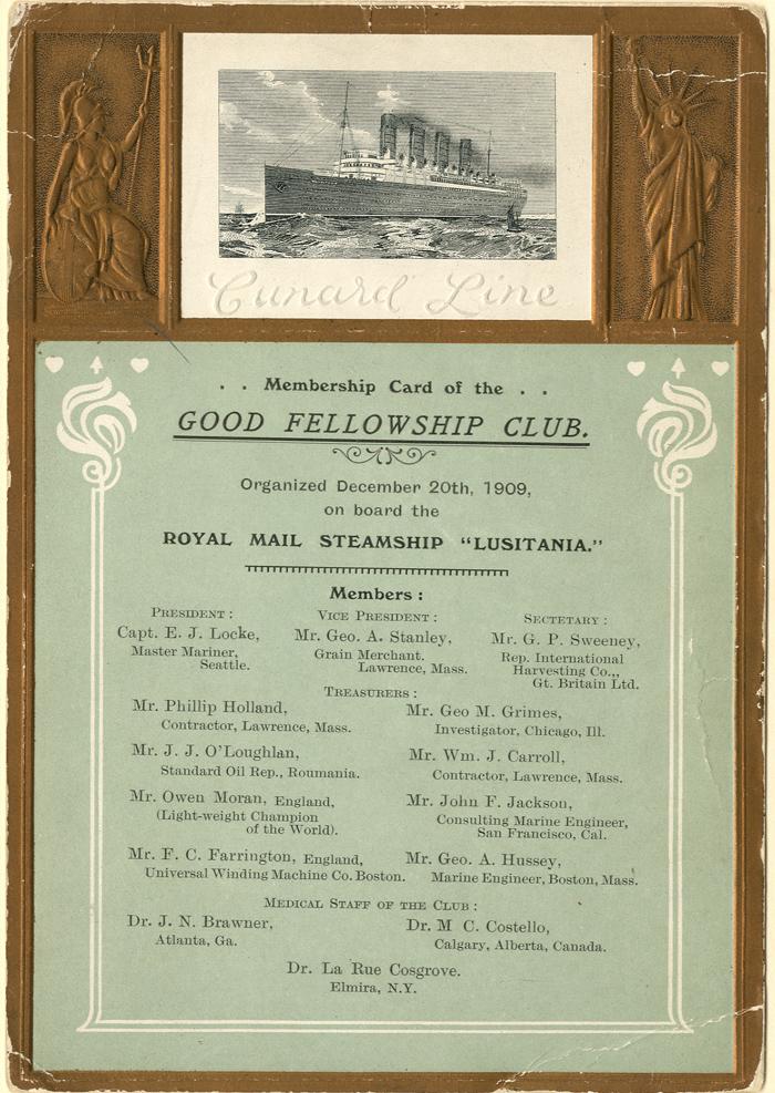Lusitania Cunard Line Card - SOLD