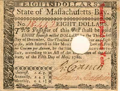 Massachusetts, $8, May 5, 1780