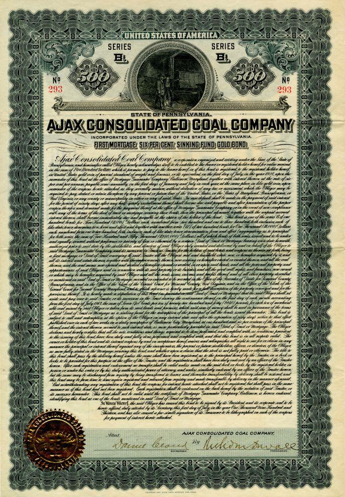 Ajax Consolidated Coal Company - $500 Bond