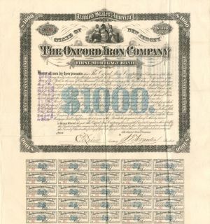 Oxford Iron Company - $1,000 Bond