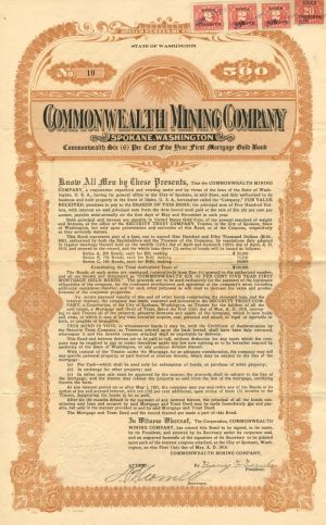 Commonwealth Mining Company - $500 - Bond