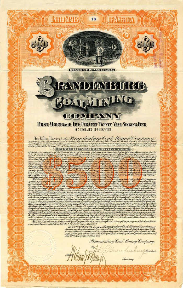 Brandenburg Coal Mining Company - $500 Bond