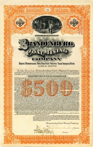 Brandenburg Coal Mining Company - $500 - Bond