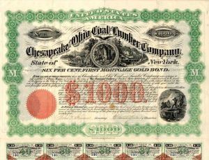 Chesapeake and Ohio Coal and Lumber Company - $1,000 - Bond