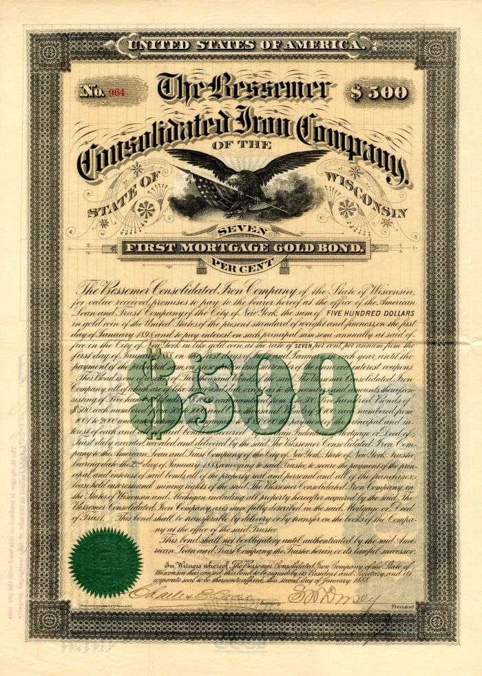 Bessemer Consolidated Iron Company of the State of Wisconsin - $500 Bond