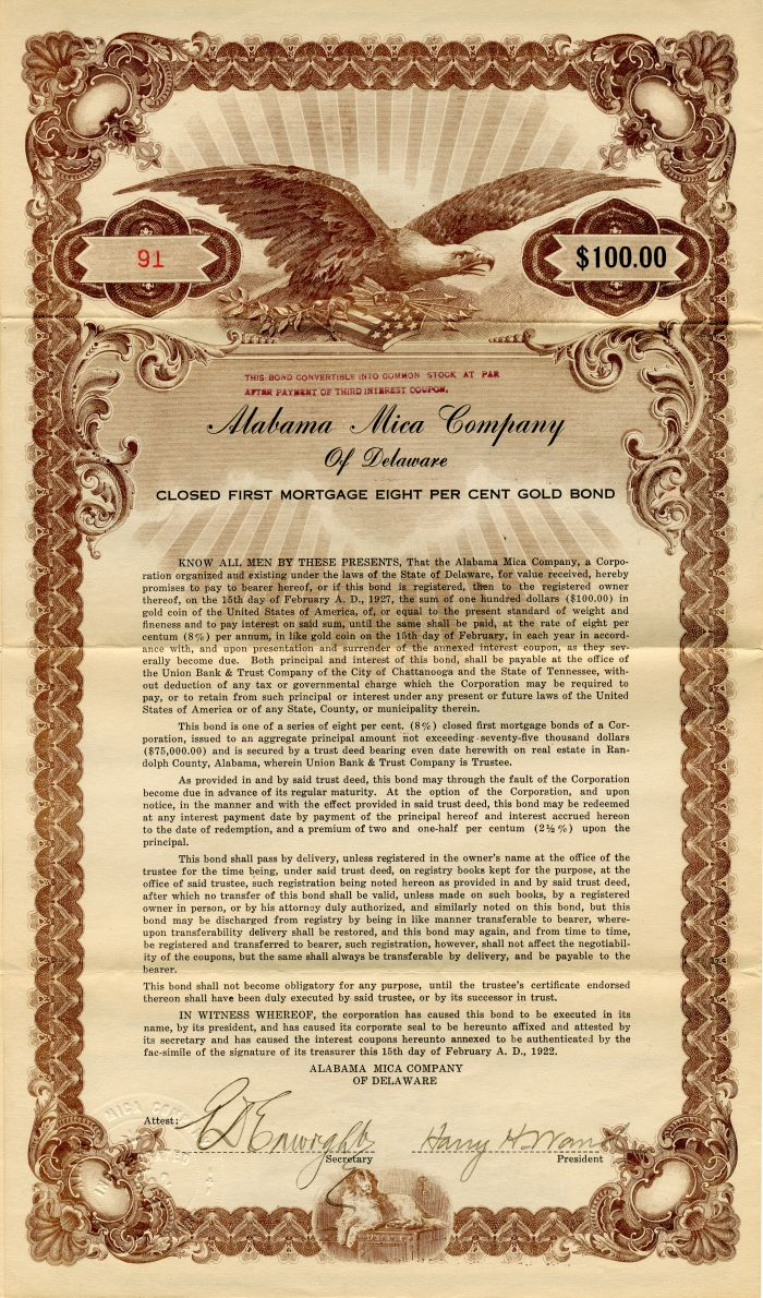 Alabama Mica Company of Delaware - $100 Bond