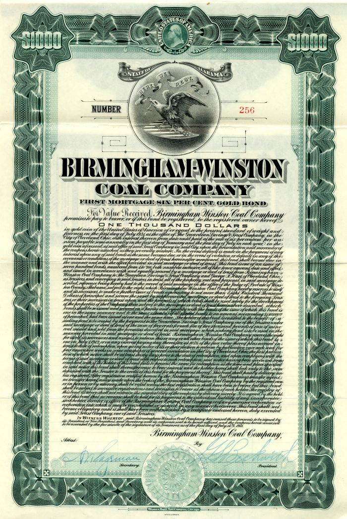 Birmingham-Winston Coal Company - $1,000 Bond