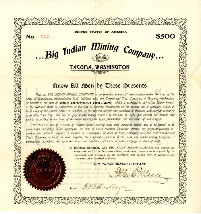 Big Indian Mining Company - $500 Bond