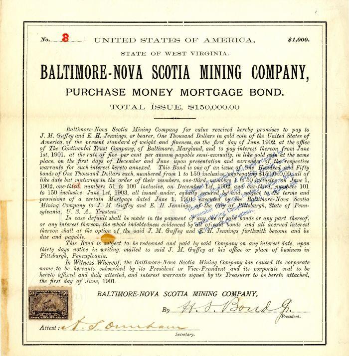 Baltimore-Nova Scotia Mining Company - $1,000 Bond