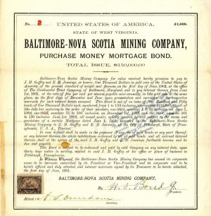 Baltimore-Nova Scotia Mining Company - $1,000 Bond