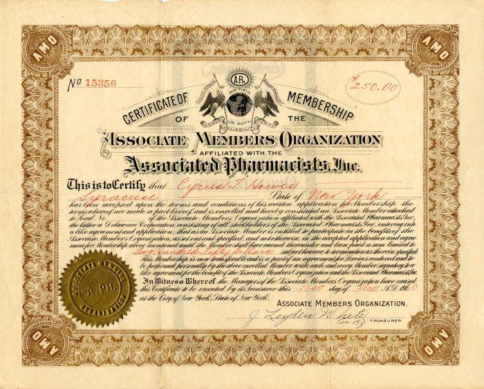 Associated Pharmacists, Inc. - Stock Certificate