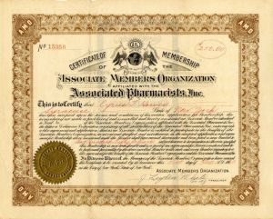 Associated Pharmacists, Inc. - Stock Certificate