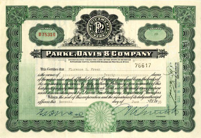 Parke, Davis & Company - Stock Certificate