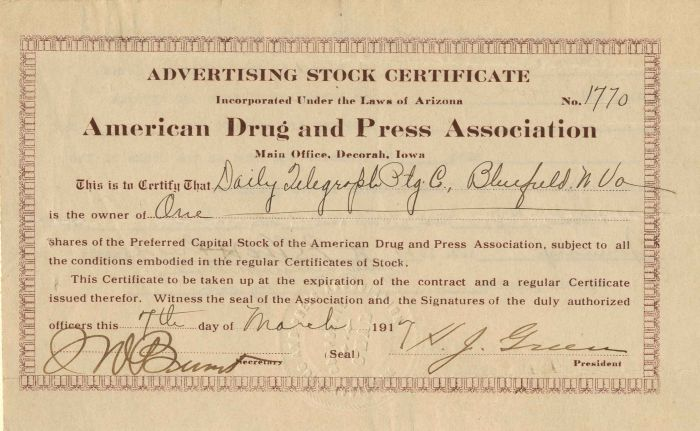American Drug and Press Association - Stock Certificate