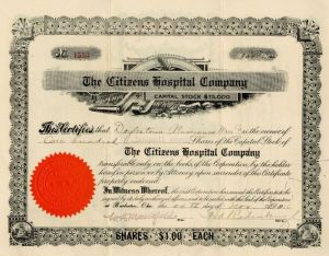 Citizens Hospital Company - Stock Certificate