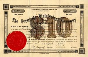 Germicide Disinfectant Company - Stock Certificate
