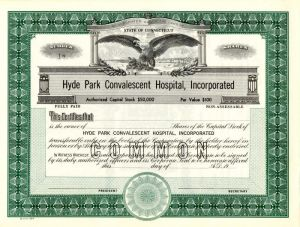 Hyde Park Convalescent Hospital, Incorporated - Stock Certificate
