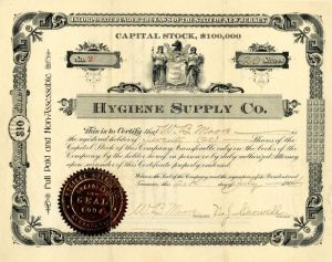 Hygiene Supply Co. - Stock Certificate