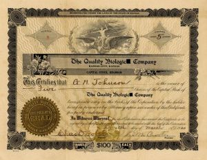 Quality Biologic Company - Stock Certificate