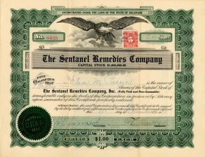 Sentanel Remedies Company - Stock Certificate