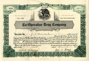 Co-Operative Drug Company - Stock Certificate