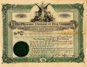 Physicians' Chemical and Drug Company - Stock Certificate - SOLD